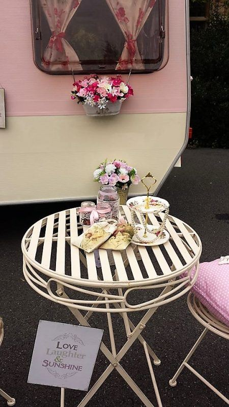 vintage caravan photo booth hire outside table two