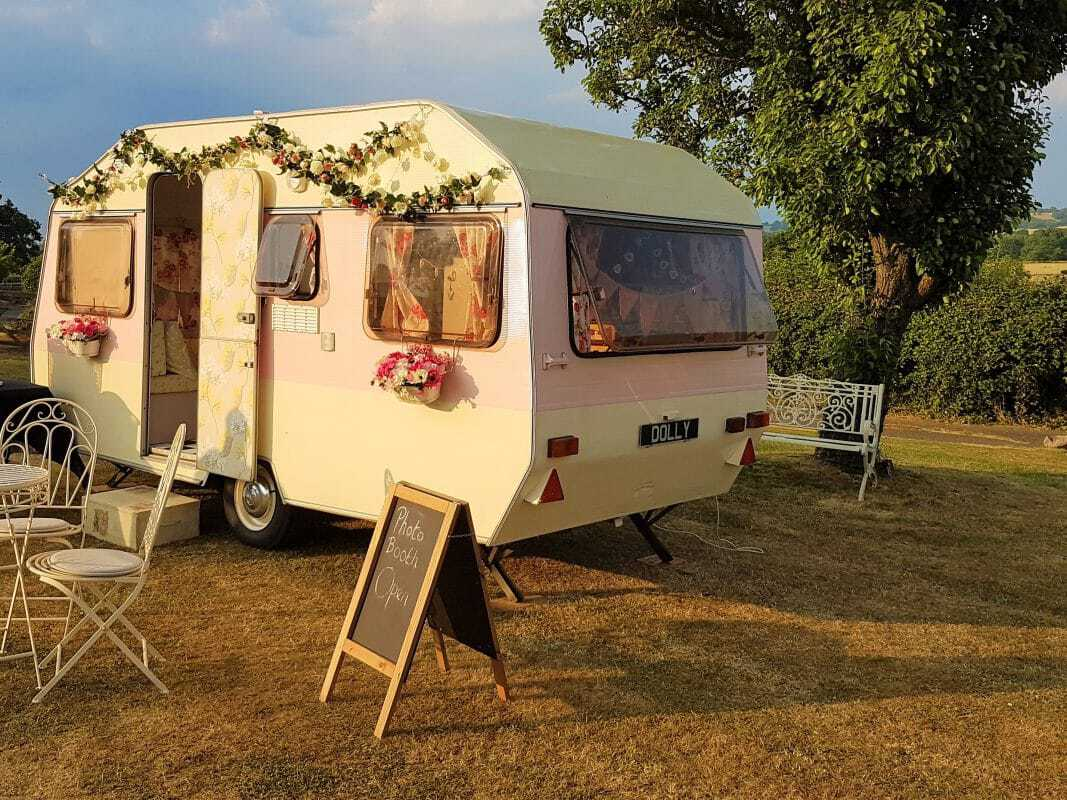 picture of Dolly the vintage caravan photo booth side view
