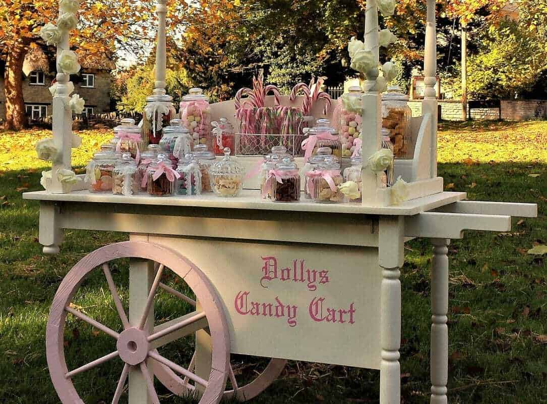 Side view of candy cart