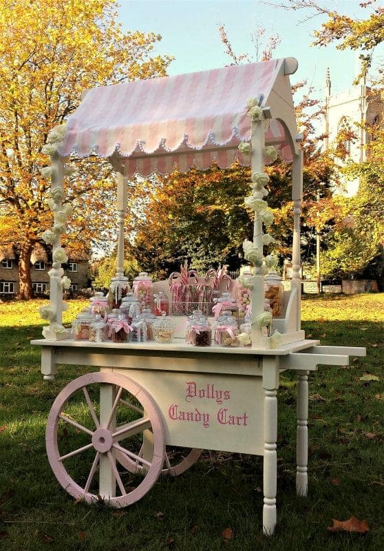 picture of dolly vintage candy cart available to hire for weddings etc